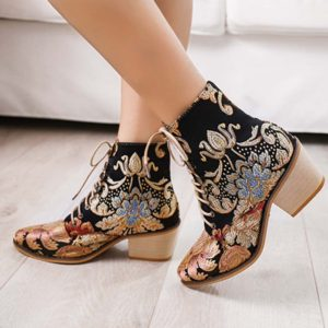Women Pointed Toe Embroideried Lace Up Block Boots