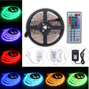 5M 60W RGB SMD5050 Waterproof 300 LED Strip Light + 44 Key Remote 12V 2A Power Adapter Full Kit