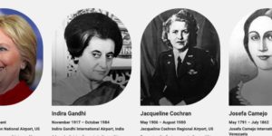 352 airports are named after high flying people. Only 16 woman are included. Who are they?